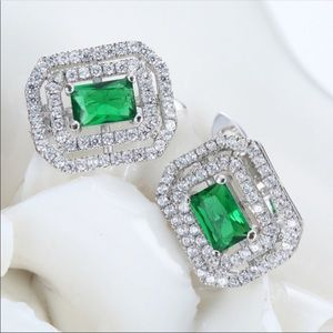 Green emerald CZ crystal rectangle stud earrings